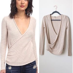 Free People • Gotham Wrap Sweater Top Oatmeal